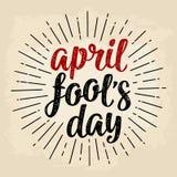 April-de dag het kalligrafische handschrift van de dwaas van letters voorzien Vector zwarte en rode illustratie stock illustratie