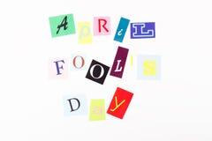 April-de dag van de dwaas, document brieven Stock Foto