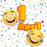 April-de kaart van de dwaas` s dag - gekke gelaatsuitdrukking op gele achtergrond - April-het malplaatje van het dwaas` s ontwerp royalty-vrije illustratie
