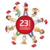 23 april de Turkse Nationale Soevereiniteit en Dag van Kinderen Royalty-vrije Stock Afbeelding