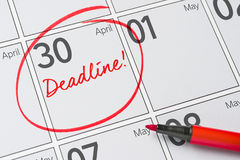 April 30. Deadline written on a calendar - April 30 Stock Image