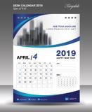 APRIL Desk Calendar 2019 mallvektor, reklamblad Royaltyfria Foton