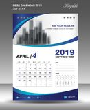 APRIL Desk Calendar-2019 Schablonenvektor, Flieger Lizenzfreie Stockfotos