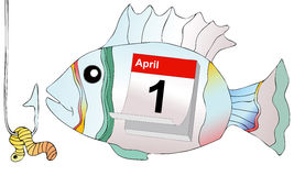 April 1, do not take the bait as a fish at hook Stock Image