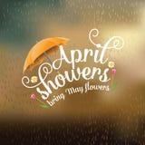 April duschar kommer med Maj blommadesign stock illustrationer