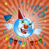 April 1.The earth in clown costume Royalty Free Stock Image