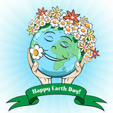 April 22 Earth Day Card. April 22 Earth Day Celebrating Card with doodle globe in wreath of daisies Royalty Free Stock Image