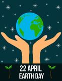 Earth Day 22 of April Hands Holding Planet Flat Style. 22 April Earth Day celebration poster Stock Photos