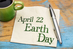 April 22 Earth Day on napkin Stock Photography