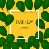 22 April Earth Day. Earth Day Poster Green Balloons on Yellow Background Royalty Free Stock Images