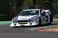 21 April 2018: Emanuele Pirro drive Lancia Martini Beta Montecarlo during Motor Legend Festival 2018. At Imola Circuit in Italy stock image