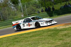 21 April 2018: Emanuele Pirro drive Lancia Martini Beta Montecarlo during Motor Legend Festival 2018 at Imola Circuit. In Italy stock photography