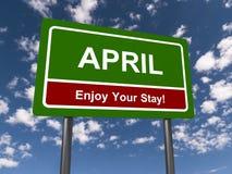 April Enjoy Your Stay Sign royaltyfria foton