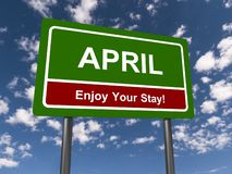 April Enjoy Your Stay Sign royalty free stock photos