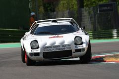 21 April 2018: Erik Comas drive Lancia Stratos HF V6 during Motor Legend Festival 2018 at Imola Circuit. In Italy royalty free stock photography