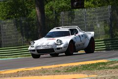 21 April 2018: Erik Comas drive Lancia Stratos HF V6 during Motor Legend Festival 2018 at Imola Circuit. In Italy stock images