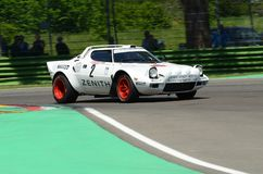 21 April 2018: Erik Comas drive Lancia Stratos HF V6 during Motor Legend Festival 2018 at Imola Circuit. In Italy royalty free stock photo