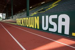 Stands at historic Hayward Field in Eugene Oregon. APRIL18, 2018 EUGENE OREGON - The seating or stands at the historic Hayward Field  at the University of Royalty Free Stock Photos