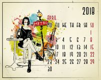 April. 2018 European calendar with fashion girl. In sketch style Royalty Free Stock Photo