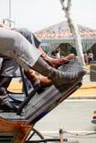 April Fair di Siviglia Dettaglio degli stivali dei cavallerizzi Fotografia Stock