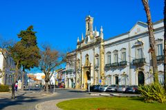 Travel Portugal, Downtown Faro Historical Buildings, Mediterranean Architecture. April, 2018: Faro`s civil governor`s palace, Algarve, southern Portugal. This stock images