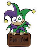 April fool. A cute April fools day character, holding a sign Royalty Free Stock Images