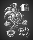 April Fool drawn on chalkboard Stock Image