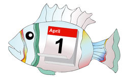 April Fool. April 1, humorous illustration representing the day of pranks and false news royalty free illustration