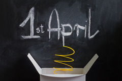 April Fool's Day Abstract box with surprise and joke Stock Photos