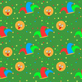 April Fool`s day background. Seamless pattern with jester hat and smiley. April Fool`s day background. Vector illustration Stock Photography