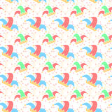 April Fool`s day background. Seamless pattern with jester hat. April Fool`s day background. Vector illustration Stock Photo