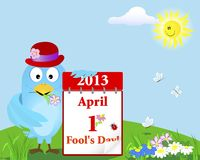April Fools Day. Blue Bird with the calendar. April Fools Day. Blue Bird in the hat with the calendar against the sky with a smiling sun. Vector illustration Stock Photos