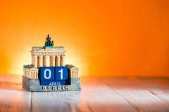1 April Fool`s Day Calendar Germany. Place for text stock photography