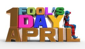 April Fool's Day Clipart. 3D rendering clipart celebrating april fool's day Stock Photo
