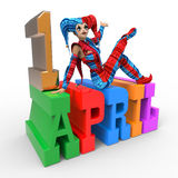 April Fool's Day Clipart. 3D rendering clipart celebrating april fool's day Stock Images
