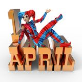 April Fool's Day Clipart. 3D rendering clipart celebrating april fool's day Stock Image