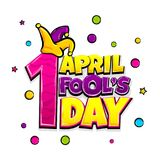 Comic text advertise fools day. 1 april fool`s day comic text pop art advertise. Cute comics book fool funny jester poster phrase. Vector colored halftone Royalty Free Stock Images