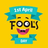 April Fool`s Day concept with colorful text on yellow background. Hand written lettering composition with jester`s vector illustration