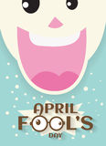 April fool`s day concept design with Laughing mouth joke Royalty Free Stock Image