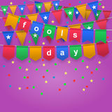 April Fool`s day. Happy April Fool`s Day. Festive background with colorful flags. Holiday, celebration party. Vector illustration Vector Illustration