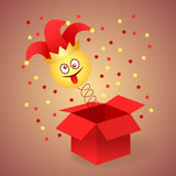 April Fool`s day. Happy April Fool`s Day. Jack in the box toy, springing out of a box. Vector illustration royalty free illustration