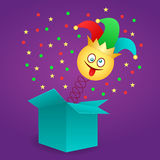 April Fool`s day. Happy April Fool`s Day. Jack in the box toy, springing out of a box. Vector illustration vector illustration