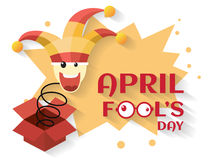April fool`s day,jack in the box toy, springing out of a box. Vector illustration Royalty Free Stock Image