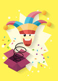 April fool`s day,jack in the box toy, springing out of a box. Vector illustration Royalty Free Stock Images