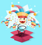 April fool`s day,jack in the box toy, springing out of a box. Vector illustration royalty free illustration