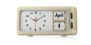 April fool`s day on old retro alarm clock, white background, isolated, 3d illustration. April 1st fool`s day on old retro vintage alarm clock against white royalty free illustration