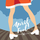 April Fool's Day tied shoelaces gag design. Royalty Free Stock Images