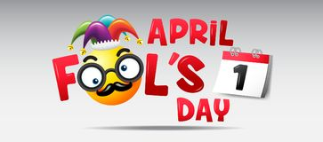 April fool`s day, Typography ,funny cartoon on Colorful background. April fool`s day, Typography ,funny cartoon on Colorful background , vector illustration Stock Images