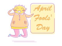 April fool`s day. Vector. Cartoon. Isolated art on white background. Flat Royalty Free Stock Photography
