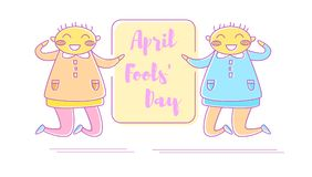 April fool`s day. Vector. Cartoon. Isolated art on white background. Flat Royalty Free Stock Images